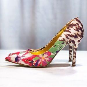Floral Animal Print Nine West Pointy Toe Heels